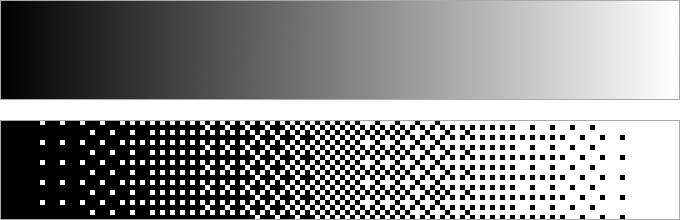 A black to white gradient with the dithered version underneath
